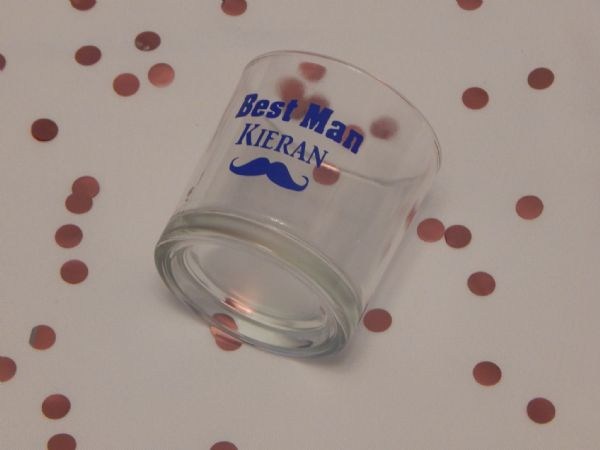 Personalised Wedding Tumbler Glass With Moustache, Role & Name